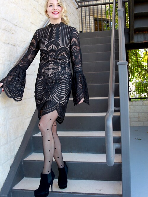 "Erin is wearing Bardot ""Women's Bardot 'Emmie' Bell Sleeve Lace Sheath Dress"""