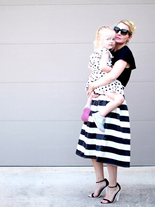 「ASOS Midi Skirt in Bonded Satin Stripe - Ecru/black(Asos)」 using this Erin looks
