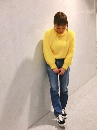 橋本愛奈さんの「シャギーニットフレアプルオーバー【niko and ...】(niko and...|ニコアンド)」を使ったコーディネート