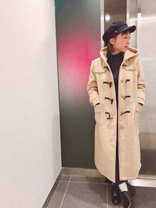 橋本愛奈さんの「ポケットぽかぽか内ボア付きロング丈フード付きウールミックスダッフルコート(select MOCA|セレクトモカ)」を使ったコーディネート