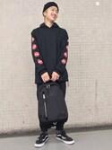 片岡さんの「【HY-TEK】ナイロンPUジョガーパンツ/746574(RAGEBLUE|レイジブルー)」を使ったコーディネート