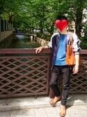 KUNさんの「INDIGO CREW NECK TEE:インディゴTシャツ(The DUFFER of ST.GEORGE|ユニクロ)」を使ったコーディネート