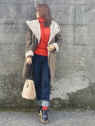&りっちさんの「【戸田恵梨香さん着用アイテム】フェイクファームートンコート 728499(LEPSIM|レプシィム)」を使ったコーディネート