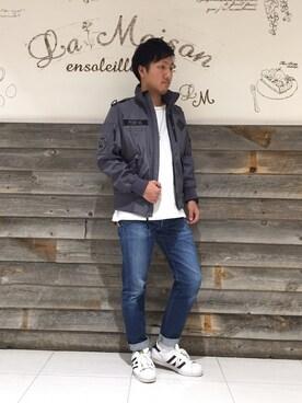 AVIREX  福岡|takaさんのブルゾン「avirex/ アヴィレックス /  PDW ボンディング ショートジャケット/PDW BONDING SHORT JACKET(AVIREX|アヴィレックス)」を使ったコーディネート