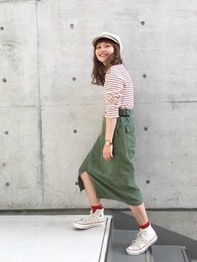 Dot&StripesCHILD WOMAN.atelier|kojiiさんの「バックサテン染料顔料   バイオwashコクーンスカート(My Fav. CHILD WOMAN)」を使ったコーディネート