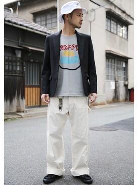 Rocky Monroe|r_y_o_4さんのテーラードジャケット「日本製トロピカル素材1Bテーラードジャケット(Rocky Monroe|ロッキーモンロー)」を使ったコーディネート