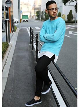 Rocky Monroe|r_y_o_4さんのニット/セーター「バイオウォッシュ加工ネイティブ柄ニット(Rocky Monroe|ロッキーモンロー)」を使ったコーディネート