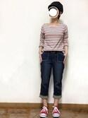 Aki♡さんの「[人気ランキング1位] 履き心地◎カラバリ豊富で歩きやすいレースアップスニーカー/AAA+2326(AAA+|サンエープラス)」を使ったコーディネート
