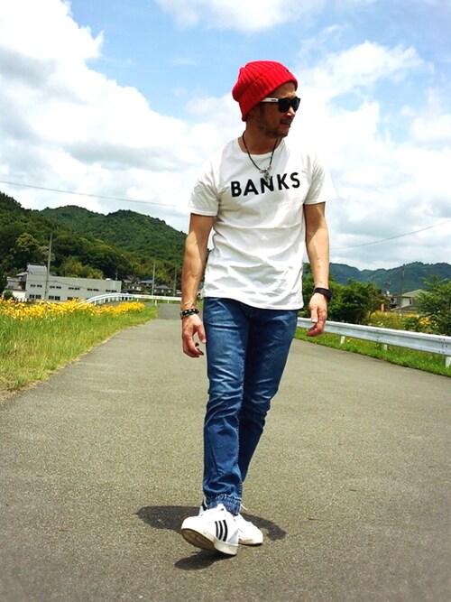 スーパースター×ジョガーパンツ×白メッセージTシャツ 画像1