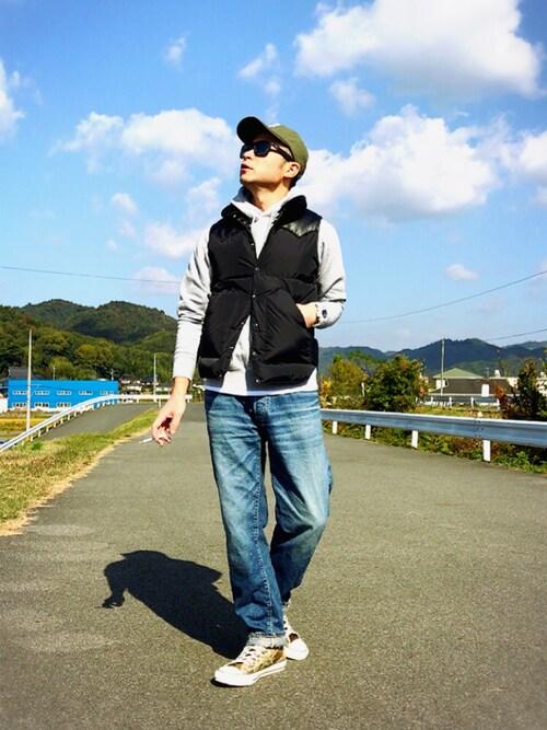ダウンベスト×色落ちジーンズのアメカジスタイル 画像1