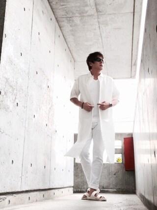 イーサン・ハント🕶さんの「スキッパー5分マキシシャツ(AZUL by moussy アズールバイマウジー)」を使ったコーディネート