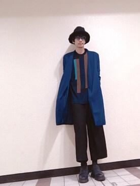 安田貴広さんの「KIJIMA TAKAYUKI(キジマタカユキ)中綿ウールハット(KIJIMA TAKAYUKI キジマ タカユキ)」を使ったコーディネート