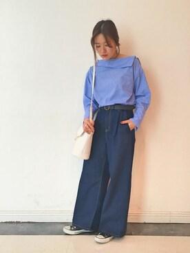 ViS 新宿ミロード|minamiさんのシャツ/ブラウス「ルーズショルダーブラウス(ViS|ビス)」を使ったコーディネート