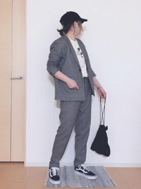 🅢🅗🅘🅗🅞さんの「TRチェックチビショールジャケット【niko and ...】(niko and...)」を使ったコーディネート