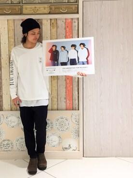 RAGEBLUE町田モディ店|鈴木隆文さんのTシャツ/カットソー「<トレンドのロング丈>ハニカムロングクルー/742610(RAGEBLUE|レイジブルー)」を使ったコーディネート