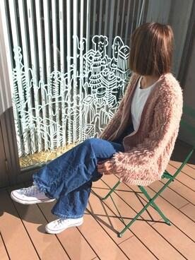 copine|ayaさんの「★特別価格★再入荷!!もこもこループ編みニットカーデ(5color)(copine)」を使ったコーディネート