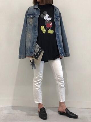 copine|ayaさんの「★再入荷★ミッキープリントロングTシャツ(4color)(copine|コピン)」を使ったコーディネート