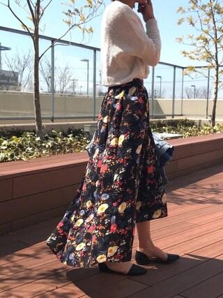 copine|ayaさんの「大人気!ピンク・ミント再入荷★花柄アシンメトリーロングスカート(4color)(copine|コピン)」を使ったコーディネート