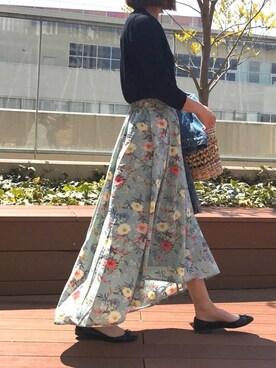copine|ayaさんの「大人気!ミント再入荷★花柄アシンメトリーロングスカート(4color)(copine)」を使ったコーディネート