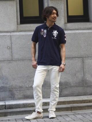 J.FERRY|J.FERRYさんの「ユニオンジャックポロシャツ(003 J.FERRY|ゼロゼロスリージェイフェリー)」を使ったコーディネート