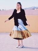 「ASOS Pleated Midi Skirt in Metallic with Contrast Hem(Asos)」 using this Anna looks