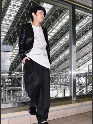Lui's ルクア大阪店|S.FUJITANIさんの「ノーカラーレザージャケット(Lui's|ルイス)」を使ったコーディネート