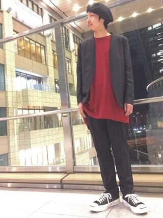 Lui's ルクア大阪店|S.FUJITANIさんの「高級ノーカラージャケット(Lui's|ルイス)」を使ったコーディネート