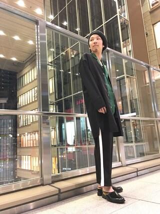 「【WEB限定】 ライン スラックスパンツ(Lui's)」 using this Lui's ルクア大阪店|S.FUJITANI looks