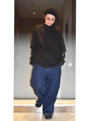 Lui's ルクア大阪店|S.FUJITANIさんの「【WEB限定】 モックネック ビッグTシャツ(Lui's|ルイス)」を使ったコーディネート