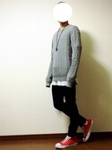 KAKERUさんの「MEN コットンカシミヤケーブルクルーネックセーター(長袖)(ユニクロ|ユニクロ)」を使ったコーディネート