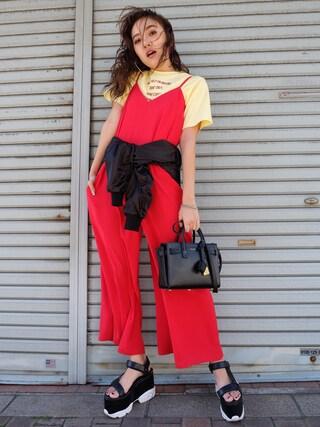 「ロゴ刺繍Tシャツ(EVRIS)」 using this 佐々木彩乃 looks