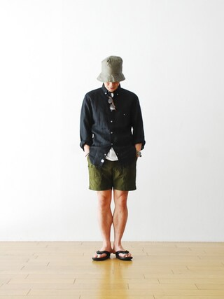 "WONDER MOUNTAIN|WONDERMOUNTAINさんの「Engineered Garments (エンジニアードガーメンツ)  ""Ranger Short -Reversed Sateen-"" ¥30,240-(Engineered Garments|エンジニアードガーメンツ)」を使ったコーディネート"
