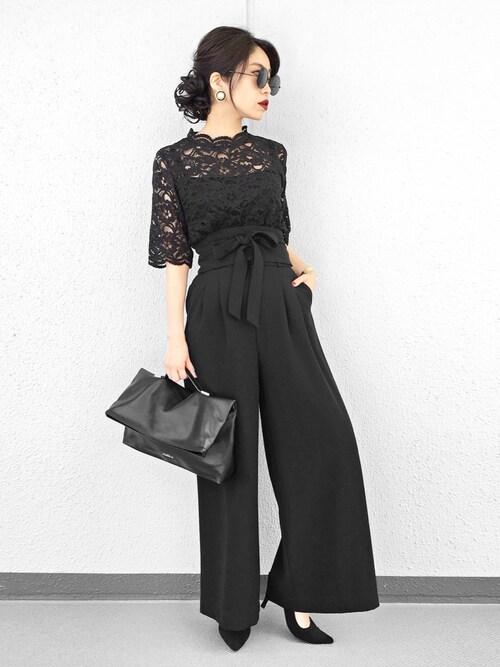 2:1の法則 ブラックのパンツドレス参考コーディネート8