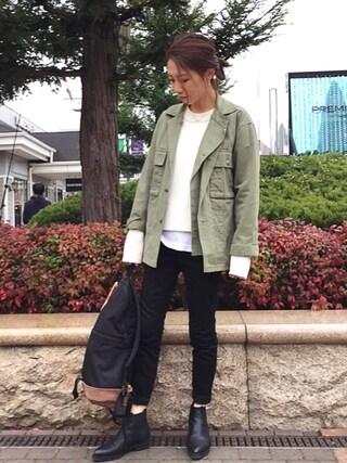 yurieさんの「ヘリンボーンワークジャケット(TODAYFUL|トゥデイフル)」を使ったコーディネート
