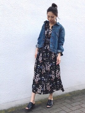 yurieさんのシャツワンピース「《再生産決定!》花柄ガウンシャツワンピース(UNRELISH アンレリッシュ)」を使ったコーディネート