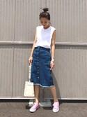 yurieさんの「前釦デニムタイトスカート(GRL|グレイル)」を使ったコーディネート