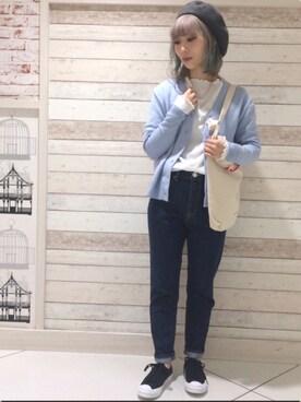 MILKFED. AT HEAVEN27ラフォーレ原宿|田代綾美さんの「HEART PATCH CARDIGAN(MILKFED.|ミルクフェド)」を使ったコーディネート