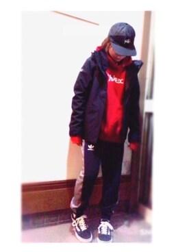 pamiさんの「【WEB限定アイテム】SWEAT HOODIE TOP(X-girl|エックスガール)」を使ったコーディネート