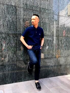 LACOSTE 京都店|yutaさんの「<LACOSTE (ラコステ)> INDIGO POLO/ポロシャツ(LACOSTE)」を使ったコーディネート
