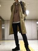 JUNさんの「【Begin掲載】BEAMS / ルーズフィット ステンカラーコート(BEAMS|ビームス)」を使ったコーディネート