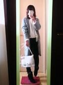 アキさんの「WOMEN エクストラファインメリノクルーネックセーター(長袖)+(ユニクロ|ユニクロ)」を使ったコーディネート