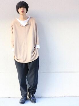 テシマさんの「ボートネックカットオフTシャツ【niko and ...】(niko and... ニコアンド)」を使ったコーディネート