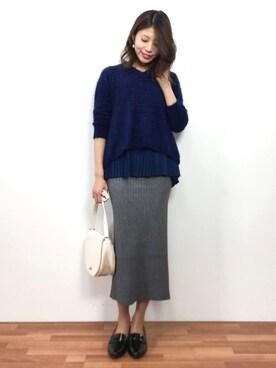 ZOZOTOWN|吉岡由梨子さんの「【PICCIN】フェザーヤーンレイヤードセーター(PICCIN)」を使ったコーディネート