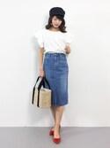 吉岡由梨子さんの「Lee×安西こずえ/別注フロントスリットスカート(Lee|リー)」を使ったコーディネート