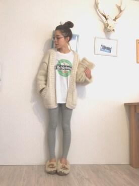 hiiicoさんの「Hand Knit Cardigan(TODAYFUL)」を使ったコーディネート