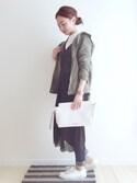 haru さんの「【PLAIN CLOTHING】スクエアラインストーンイヤリング(PLAIN CLOTHING|プレーンクロージング)」を使ったコーディネート