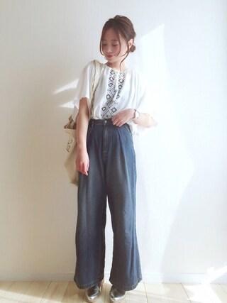 haru さんの「刺繍ボリュームBLシャツ(THE EMPORIUM|ジ エンポリアム)」を使ったコーディネート