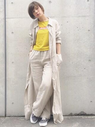 石川 瑠利子さんの「UV06 MANTEAU(agnes b.|アニエスベー)」を使ったコーディネート