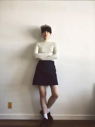 小谷実由さんの「Ray BEAMS / デニム パッチポケット ミニスカート(Ray BEAMS|レイビームス)」を使ったコーディネート