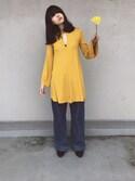 小谷実由さんの「V-NECK BODY SUIT Vネックボディスーツ(HOLIDAY|ホリデイ)」を使ったコーディネート